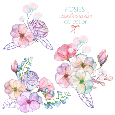 pastel shades: Set with isolated watercolor floral bouquets from tender flowers and leaves in pastel shades, hand drawn on a white background