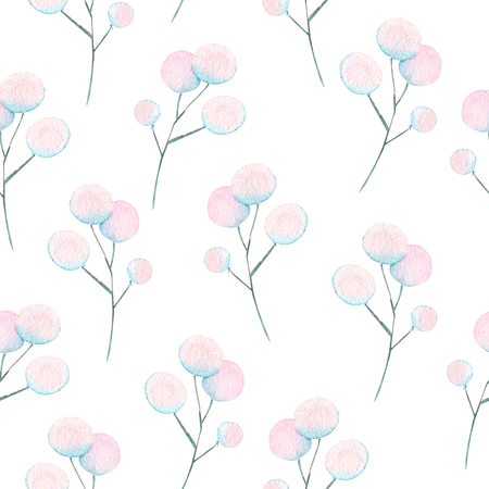 Seamless floral pattern with the watercolor abstract fluff branches, hand drawn on a white background Banco de Imagens
