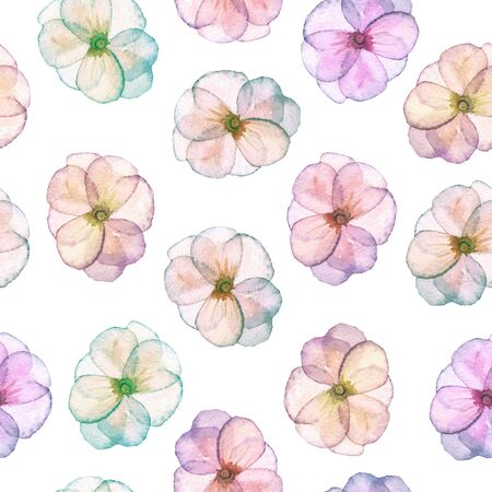 florescence: Seamless pattern with watercolor tender flowers in pink and purple pastel shades, hand drawn on a white background