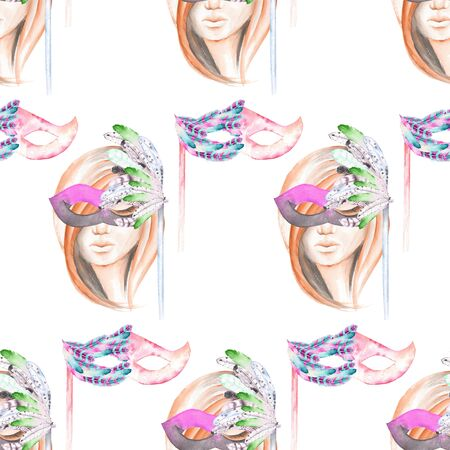 double game: Masquerade theme seamless pattern with female image masked Venetian style, hand drawn on a white background