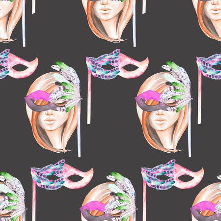 double game: Masquerade theme seamless pattern with female image masked Venetian style, hand drawn on a dark background Stock Photo