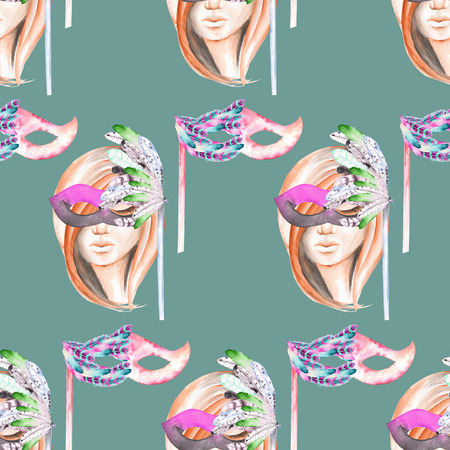 double game: Masquerade theme seamless pattern with female image masked Venetian style, hand drawn on a green background