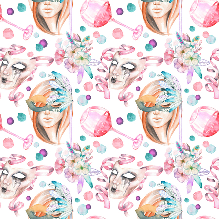 harlequin clown in disguise: Masquerade theme seamless pattern with female image in a mask, wineglasses and masks in Venetian style, hand drawn on a white background