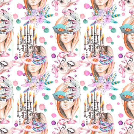 double game: Masquerade theme seamless pattern with female image in a mask, chandeliers with candles and masks in Venetian style, hand drawn on a white background