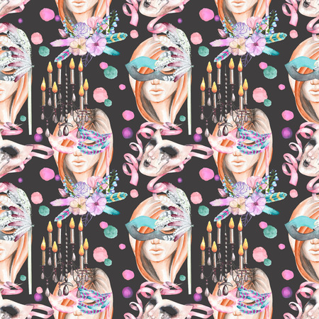 double game: Masquerade theme seamless pattern with female image in a mask, chandeliers with candles and masks in Venetian style, hand drawn on a dark background