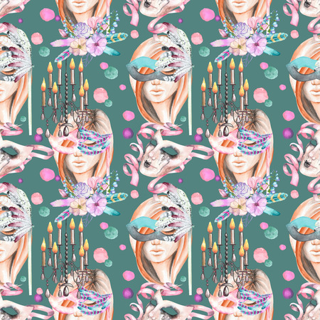 double game: Masquerade theme seamless pattern with female image in a mask, chandeliers with candles and masks in Venetian style, hand drawn on a dark green background