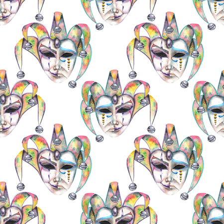 double game: Seamless pattern with venetian masks of laughter and sadness emotions, hand drawn on a white background