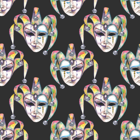 double game: Seamless pattern with venetian masks of laughter and sadness emotions, hand drawn on a dark background Stock Photo