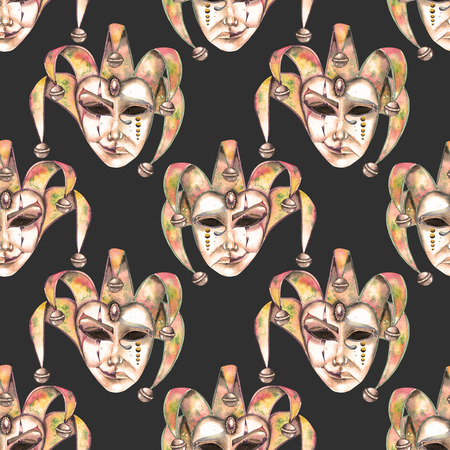 double game: Seamless pattern with venetian masks of laughter and sadness emotions, hand drawn on a dark background in sepia color