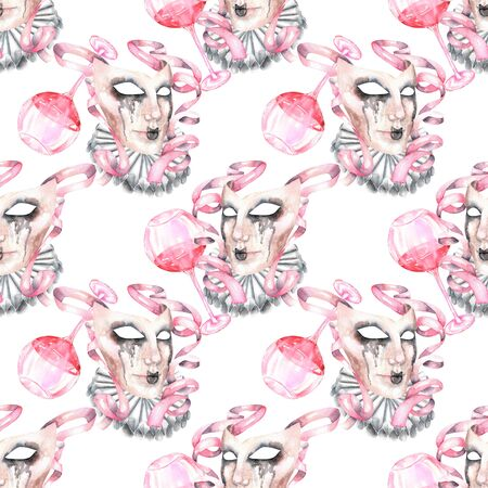 masquerade masks: Seamless pattern with masquerade crying masks in Venetian style, hand drawn on a white background Stock Photo