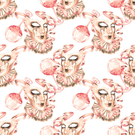 double game: Seamless pattern with masquerade crying masks in Venetian style, hand drawn on a white background in sepia color