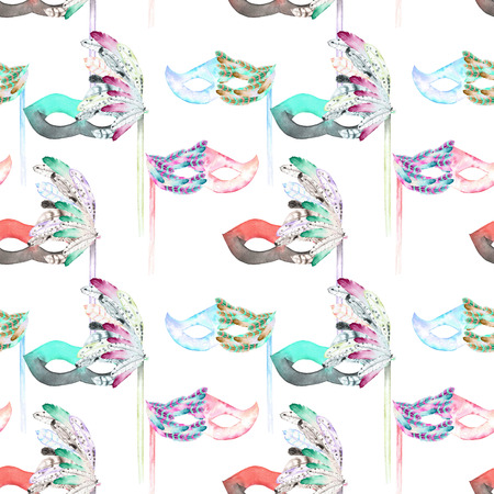 masquerade masks: Seamless pattern with masquerade masks in Venetian style, hand drawn on a white background