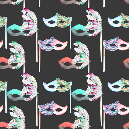 masquerade masks: Seamless pattern with masquerade masks in Venetian style, hand drawn on a dark background Stock Photo