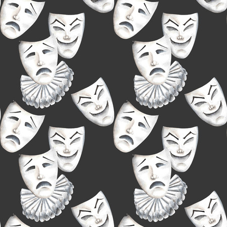 double game: Seamless pattern with theater masks of laughter and sadness emotions, hand drawn on a black background Stock Photo