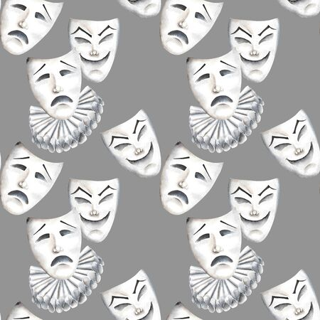 double game: Seamless pattern with theater masks of laughter and sadness emotions, hand drawn on a gray background