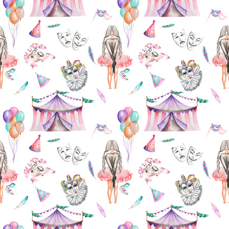 double game: Seamless pattern with circus and masquerade elements, hand drawn on a white background