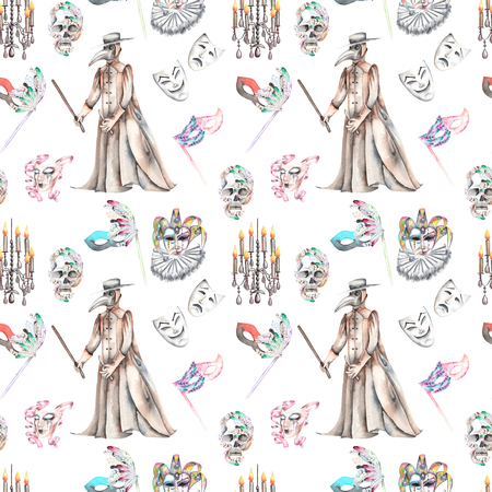 harlequin clown in disguise: Masquerade theme seamless pattern with skulls, chandeliers with candles, plague doctor costume and masks in Venetian style, hand drawn on a white background Stock Photo