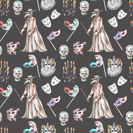 double game: Masquerade theme seamless pattern with skulls, chandeliers with candles, plague doctor costume and masks in Venetian style, hand drawn on a dark background Stock Photo