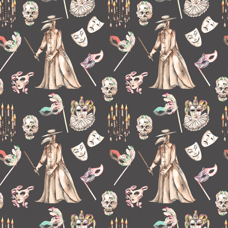 harlequin clown in disguise: Masquerade theme seamless pattern with skulls, chandeliers with candles, plague doctor costume and masks in Venetian style, hand drawn on a dark background, in sepia color Stock Photo