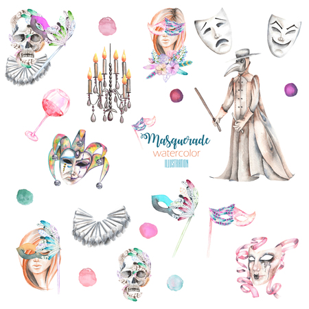double game: Masquerade theme set with female images in masks, design skulls in Venetian style, masks and plague doctor, hand drawn isolated on a white background