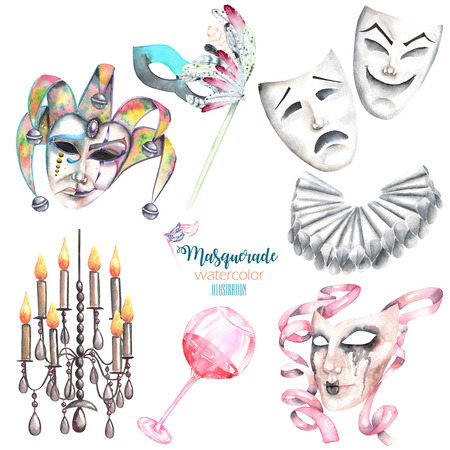 harlequin clown in disguise: Masquerade theme set with masks in Venetian style, theater masks and elements of carnival, hand drawn isolated on a white background