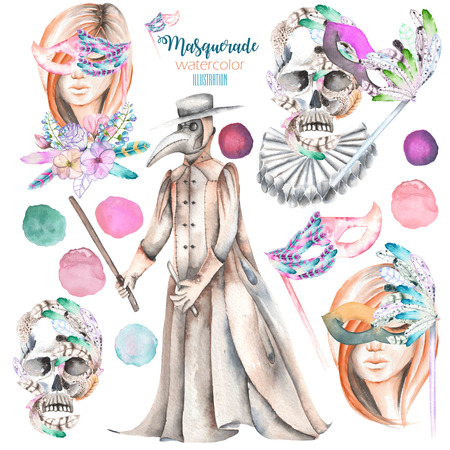double game: Masquerade theme set with female images in masks, design skulls in Venetian style and plague doctor, hand drawn isolated on a white background Stock Photo