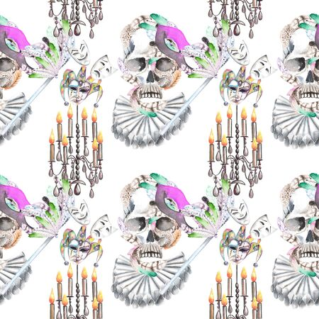harlequin clown in disguise: Masquerade theme seamless pattern with skulls, chandeliers with candles and masks in Venetian style, hand drawn on a white background Stock Photo