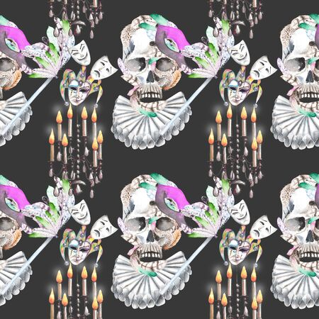 double game: Masquerade theme seamless pattern with skulls, chandeliers with candles and masks in Venetian style, hand drawn on a dark background
