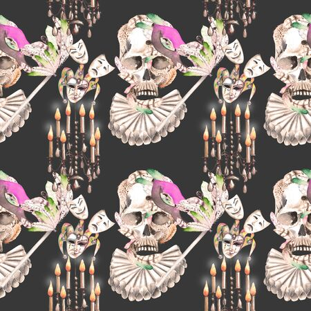 double game: Masquerade theme seamless pattern with skulls, chandeliers with candles and masks in Venetian style, hand drawn on a dark background, in sepia color Stock Photo