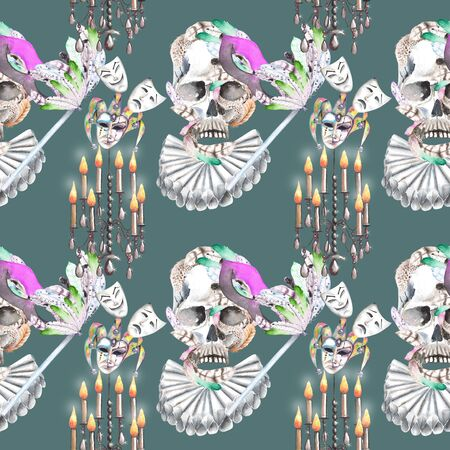harlequin clown in disguise: Masquerade theme seamless pattern with skulls, chandeliers with candles and masks in Venetian style, hand drawn on a dark green background