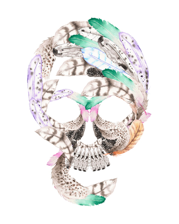 guise: Skull from watercolor feathers illustration, hand drawn isolated on a white background