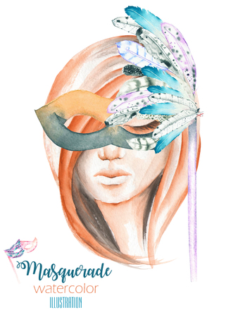 middle age women: Masquerade theme illustration of female image masked in Venetian style, hand drawn isolated on a white background