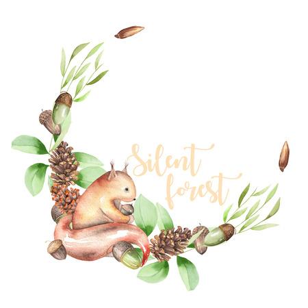 図では、白い背景、招待状、グリーティング カードに分離された水彩画のリス、fir コーン、堅果、緑の枝、手描きと花輪 写真素材