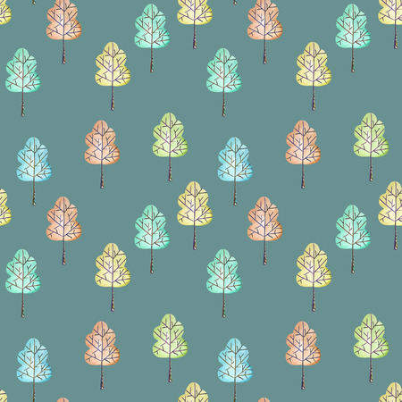 aspen leaf: Seamless floral pattern with simple trees, hand drawn in watercolor on a dark blue background