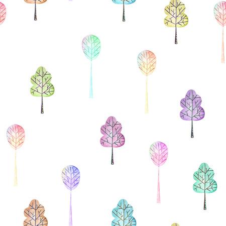 シームレス花柄シンプルな色とりどりの木々 に白い背景に水彩で描かれた手 写真素材