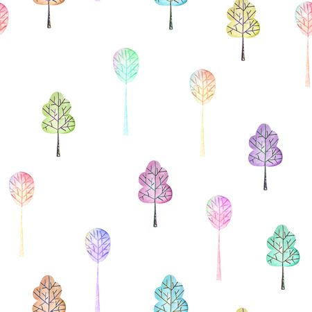 Seamless floral pattern with simple multicolored trees, hand drawn in watercolor on a white background Stockfoto