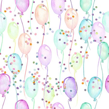 白い背景に水彩で描かれた色とりどりの気球や紙吹雪、手でシームレスなパーティのパターン