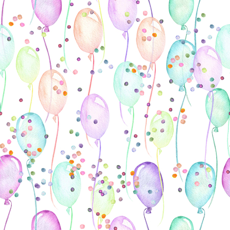 Seamless party pattern with multicolored air balloons and confetti, hand painted in watercolor on a white background Stockfoto