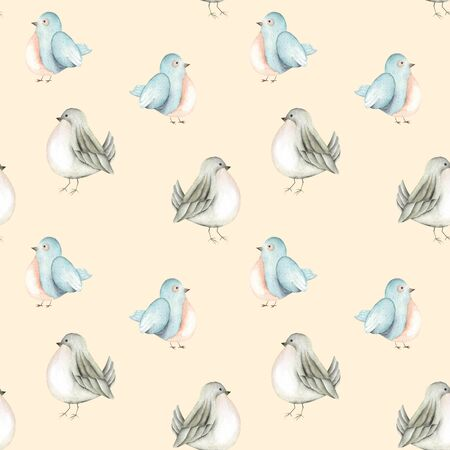 paschal: Seamless pattern of the watercolor cute birds, hand drawn on a tender pink background Stock Photo