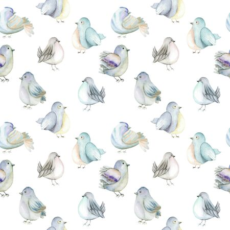 Seamless pattern of the watercolor blue birds, hand drawn on a white background Imagens