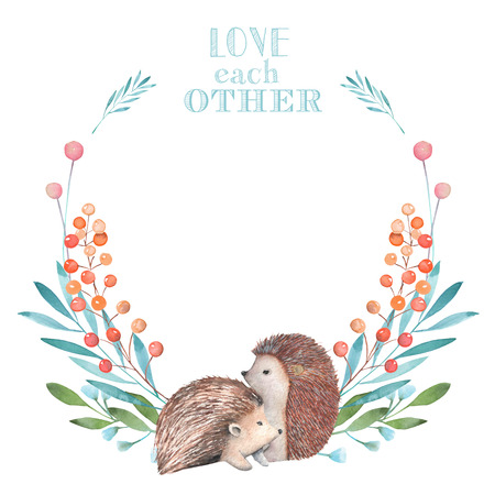 Illustration, wreath with watercolor hedgehogs and forest plants, hand drawn isolated on a white background, invitation, greeting card Stock Photo