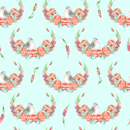 Seamless pattern with watercolor cute bird, red peonies and lupine flowers, hand drawn isolated on a blue background, invitation, greeting card Stock Photo