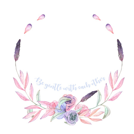 Circle frame, border, wreath with watercolor tender flowers and leaves in pastel shades, hand drawn on a white background, for invitation, card decoration and other works