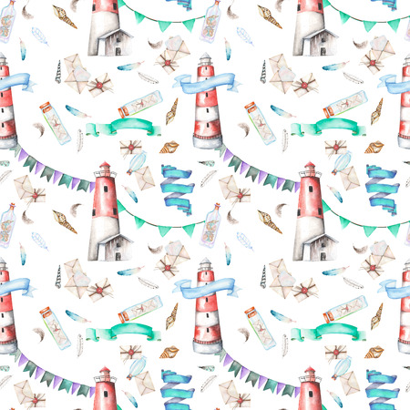 mew: Seamless pattern with watercolor elements to the marine theme: lighthouse, shells, flags, seagulls, letters and others; hand painted on a white background