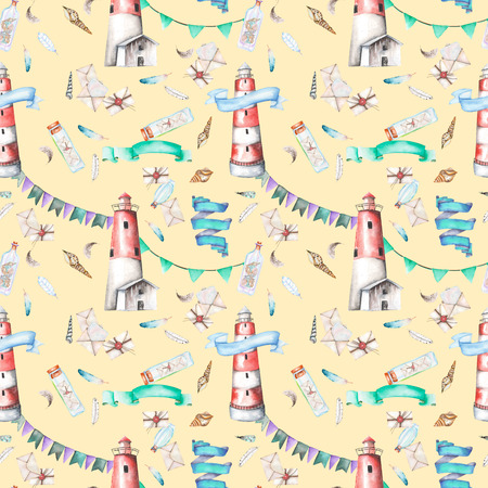 mew: Seamless pattern with watercolor elements to the marine theme: lighthouse, shells, flags, seagulls, letters and others; hand painted on a yellow background