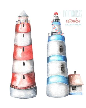 lighthouse keeper: Illustration with watercolor lighthouses, hand painted isolated on a white background Stock Photo
