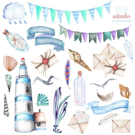 Set of watercolor elements to the marine theme: lighthouse, shells, flags, seagulls, letters and others; hand painted isolated on a white background Stock Photo