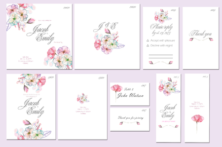 Template cards set with watercolor pink and purple flowers; wedding design for invitation, number, RSVP, Thank you card, for anniversary day Stock Photo - 71318619