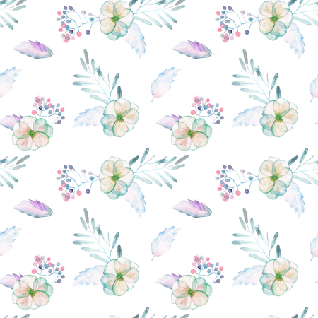 tender: Seamless pattern with watercolor tender mint and purple flowers and plants, hand drawn on a white background