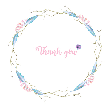 Circle frame, border, wreath with watercolor tree branches and leaves, hand drawn on a white background, for invitation, card decoration and other works